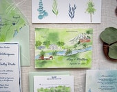 Watercolor Wedding Invitations - Maine Wedding Invitations - Custom Invitation Suite - Outdoor Wedding - Watercolor Invitation Suite