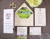 Country Club Wedding - Golf Course Wedding - Formal Invitation Suite - Watercolor Invitations - Atlanta Wedding Suite - Custom Monogram