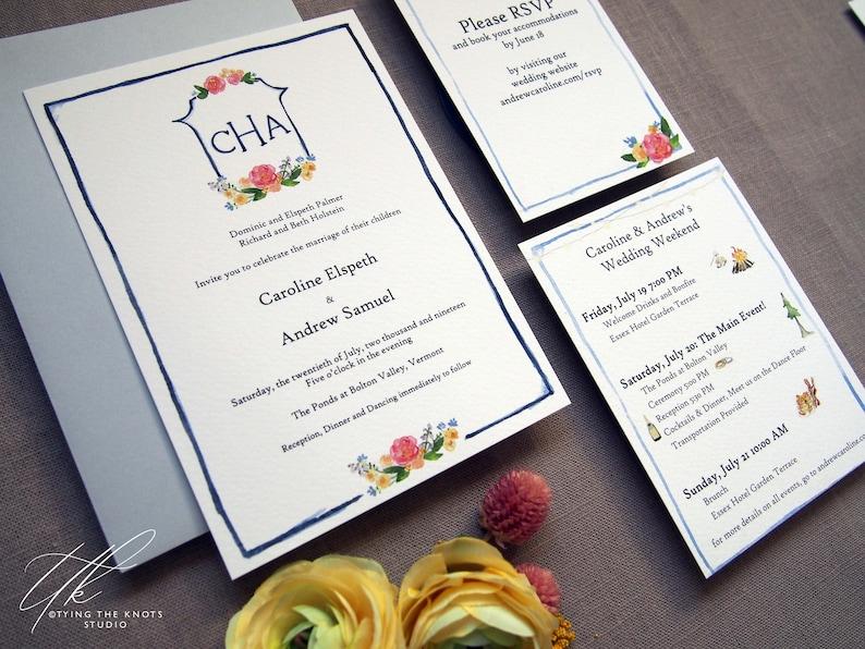 Flower Arrangement Invitations Spring Wedding Invitations Watercolor Flower Wedding Invitations Custom Monogram Wedding Suite