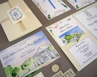 Lowndes Grove Wedding Invites - Watercolor Invitation Suite - SC Wedding - Charleston Wedding Invitations