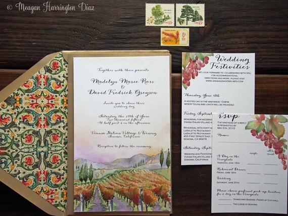 Vineyard Wedding Invitations Custom Watercolor Invitation Etsy