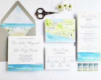 Wedding invitation suite Florida - Watercolor Florida Wedding - Ocean Wedding - Beach Wedding Suite - The Inn Green Florida - Watercolor Map