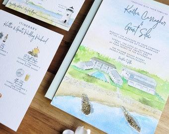 Pelham House Resort Wedding - Wedding on the Water - Beach Wedding Invitations - Massachusetts Wedding Invites - Watercolor Invitation Set