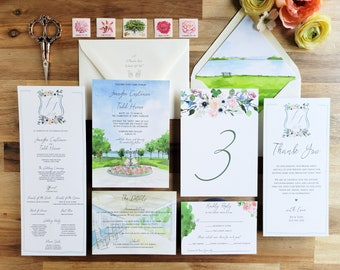 Emerson Park Pavilion Wedding - Auburn NY Wedding Invitations - Watercolor Crest Invites - Watercolor Invitation Suite