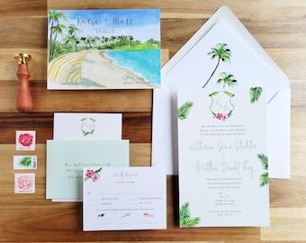 Tropical Invitations - Bahamas Wedding invitations - Lyford Cay Club Wedding - Palm Tree Décor Wedding - Watercolor Wedding invites