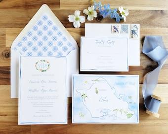 Hawaii Wedding Invitations - Honolulu Wedding Suite - Oahu Wedding Invitations - Custom Watercolor Invite Set - Oahu Invite Suite