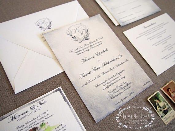 Formal Wedding Invitations Custom Invites Wedding Suite Etsy