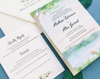 New Hampshire Outdoor Wedding Invitations - The Inn on Newfound Lake invitation - Watercolor Wedding Suite - Outdoor Wedding Invite