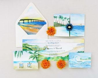 Ranch and Vineyard Wedding Invitations - California Wedding Invitations - Barn Invitation Suite - Watercolor Vineyard invitations