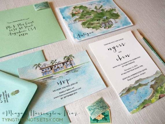 Custom Wedding Invitations Antigua Wedding Invites Etsy