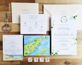 Bedell Cellars Wedding invitation set - North Fork Vineyard Wedding Suite - Watercolor Invitation Set Bedell Cellars - Cutchogue New York