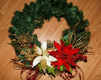 Red, White and Gold Christmas Wreath