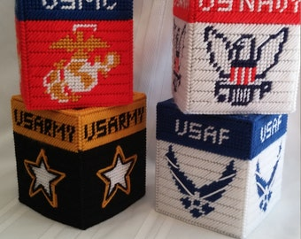 Military Tissue Box Covers, Marines, Army, Navy, Air Force, Coast Guard