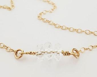 Herkimer Diamond Gold Filled Choker, Minimalist April Birthstone Charm Necklace, Layering, Quartz Crystal Healing, Spiritual Energy