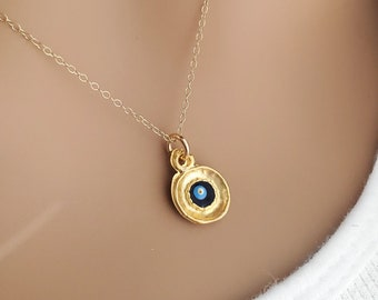 Evil Eye Gold Filled Layering Necklace, Turkish Good Luck Protection Charm, Boho Dainty Delicate Chain, Everyday, Gift for Traveler Graduate