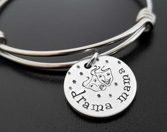 Music Theater Drama Director Gift Bracelet Actor Theater Arts Gifts Personalized Gift Birthstone Comedy Tragedy Mask Charm N2874