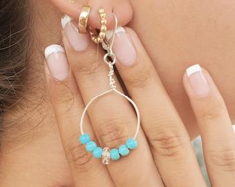 Sterling Silver Turquoise & Herkimer Diamond Hoop Earrings, Lightweight Dangle Lever Back, Quartz Crystal Healing