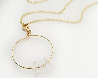 Herkimer Diamond Gold Filled Long Layering Necklace, Minimalist April Birthstone Charm, Quartz Crystal Healing, Spiritual Energy