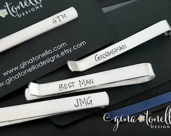 Groomsman, Groomsmen, Groom, Best Man, Wedding Party Personalized Gifts, Non Engraved Tie Clip Hand Stamped, Father of Bride