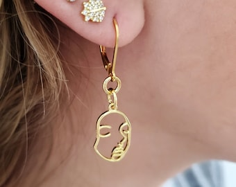 Feminist Pablo Picasso Inspired Gold Earrings, Abstract Face Charm, Woman Female Face, Feminist One Line Drawing, Trendy Minimalist
