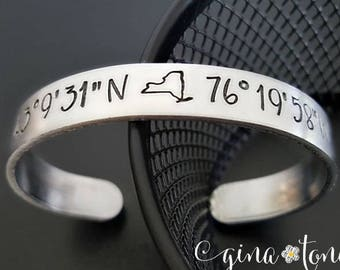 New York State GPS Coordinates Cuff, NYC Vacation Jewelry, NY is Home Bracelet