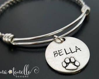 Animal Bracelet, Paw Print Bracelet, Dog Lover Jewelry, Cat Lover Jewelry, Pet Memorial Jewelry, Dog Mom Jewelry, Cat Mom Jewelry, TW