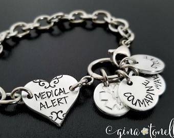 Medical ID Charm Bracelet, Personalized Emergency Alert Identification, Allergy, Diabetes, Epipen, Epilepsy, Medication, Pacemaker, Asthma