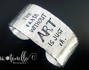 Gifts for Artists, Cuff Bracelet, Inspiration Bracelet, Art Jewelry, Art Teacher Gift, Chunky Bracelet, Art Bracelet