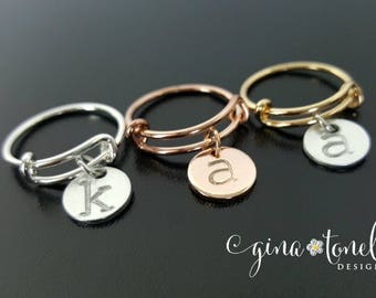 Adjustable Ring, Personalized Expandable Ring, Initial Ring Rose Gold, Gold Expandable Ring, Silver Initial Ring, Charm Ring, Wire Ring