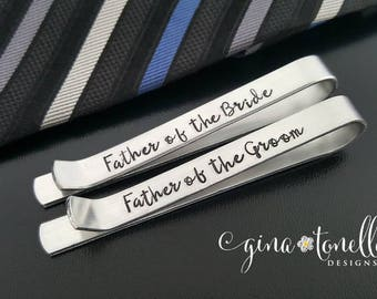Father of Bride Gift, Gift for Father of Groom Tie Clip, Tie Clip Personalized Tie Bar, Non Engraved Tie Clip Stamped, Custom Groomsmen Gift