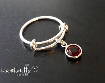 Personalized Birthstone Charm Adjustable Ring, Expandable Twisted Wire Ring