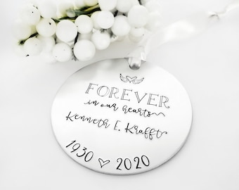 Personalized Forever in Our Hearts Ornament, Sympathy Gift for Loss of Parent, Child,  In Loving Memory Memorial Gift, Remembrance Keepsake