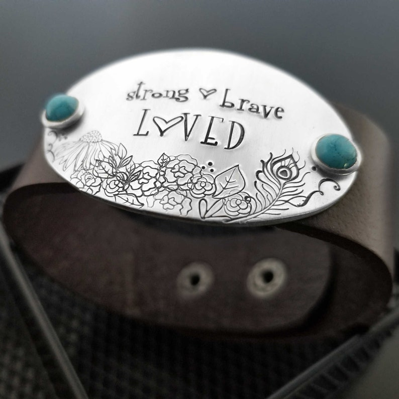 Addiction Breast Cancer Patient Bracelet Depression Brave Strong Courage Gift Inspirational Ovarian Leather Cuff Chemo Motivational