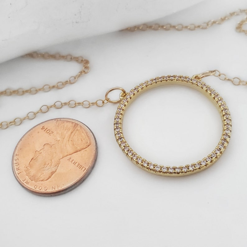 Gold Filled Layering Chain Karma CZ Diamond Pendant Eternal Hoop Open Circle Cubic Zirconia Necklace Crystal April Birthstone