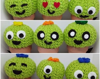 Happy Face Crocheted Mini Catus 3.5 inch Cacti
