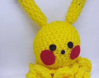 Pikachu inspired crochet octopus