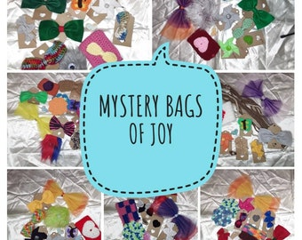 Mystery bags of joy - hair bows, magnets, mug cozies, necklaces, pins, face scrubbies, pin wheels, monsters