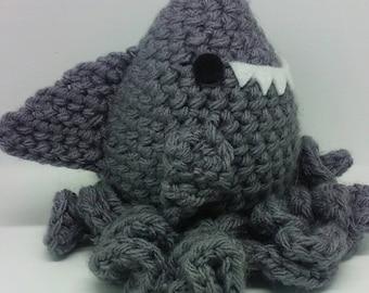 Norman the Sharktopus crochet shark octopus
