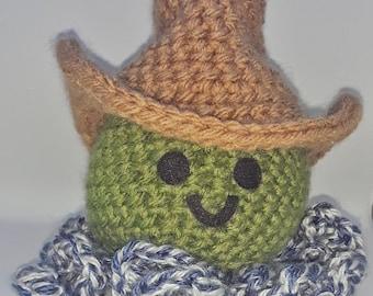Crocheted Cowboy Octopus Plush Amigurumi