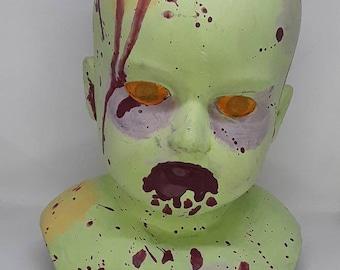 Zombie art doll bust porcelain doll head ooak