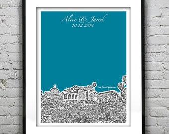 San Juan Capistrano Wedding Guest Book Guestbook Poster Print -City Skyline California CA