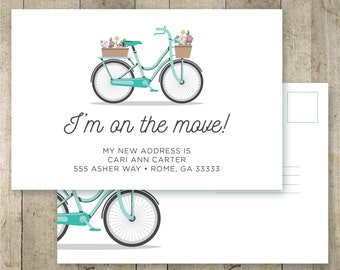 I moved postcard, personalized change of address postcard, moving announcement, printable postcard, we moved, vintage bike, custom postcard