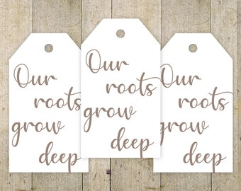 Anniversary Favor Tag, Our Roots Grow Deep, Anniversary Party Favor, Printable Tag, Instant download, Party Favor Tags, 50th Anniversary  