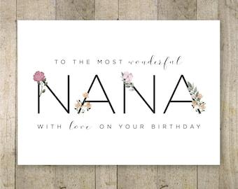 Happy Birthday Nana Printable Card, Birthday Card for Nana Greeting Card for Grandma, Grandparents Day, Happy Birthday Nana, Grandmother