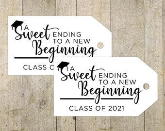 Custom New Beginnings Graduation Tags, Printable Graduation Tags, Graduation Favor Tags, Quarantine Gift, 2021 Graduation Gift Tags