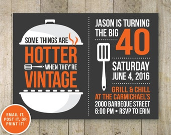 40th BBQ birthday invitation. BBQ beer party Adult 40th birthday grill. Eat drink and be 40 printable digital invite.