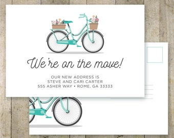 We moved postcard, personalized change of address postcard, moving announcement, printable postcard, we moved, vintage bike, custom postcard