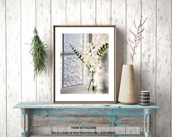 Laundry room decor,bathroom decor, fine art photography, floral wall décor photograph, matted print, nature picture, home interior art,