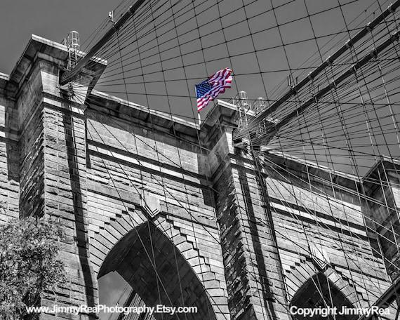 Brooklyn Bridge Nyc Flag Picture Urban Photos Black And