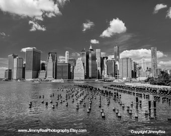 NYC skyline picture, brooklyn pier, urban photos, black and white cityscape, office art, home decor photograph, new york city skyscrapers